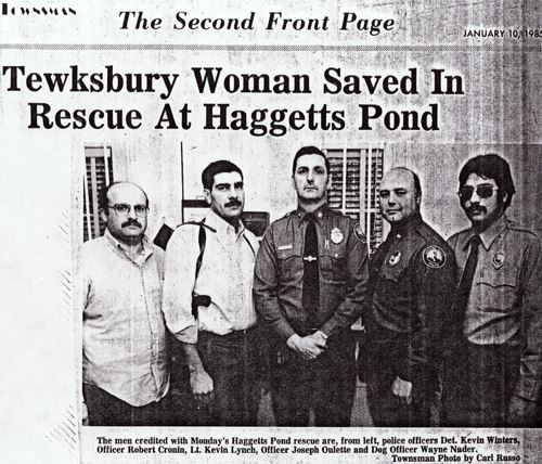 "A newspaper clipping with the headline, ""Tewksbury Woman Saved In Rescue At Haggetts Pond."""