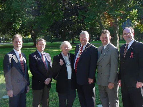 Members of Andover, Hampshire, England's government and Andover government posing for a group pho